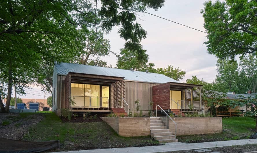 Affordable housing, duplex in Kansas City, Design+Make Studio, El Dorado Inc., Studio Build, low-income housing, Kansas City, Kansas State University, open-plan layout, green architecture, natural light
