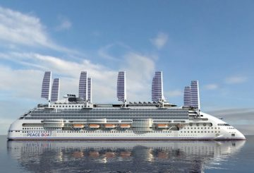 Peace Boat, Ecoship, Oliver Design, cruise ship, ocean liner, solar sails