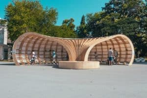 Rapana street library, Rapana library in Varna, Bulgaria street library, CNC milled pavilion, curvaceous timber pavilion, European Youth Capital, European Youth Capital funds, 3D modeled library