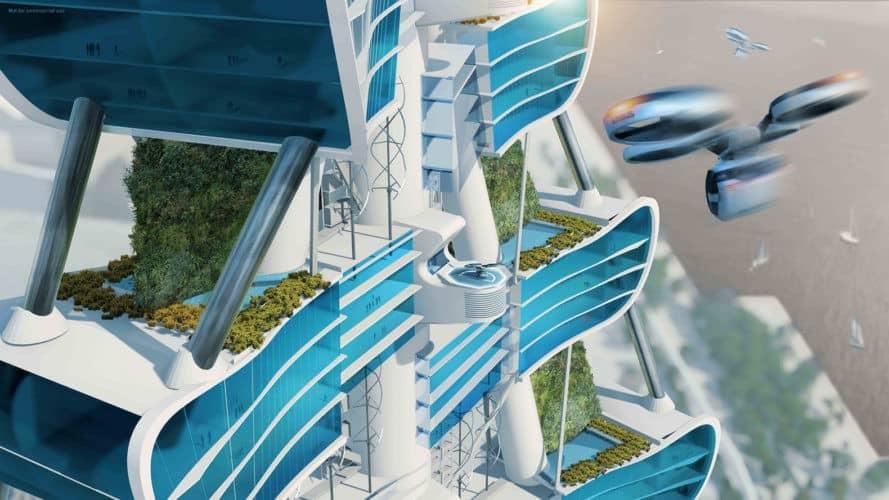 Smart Power Long, Power Long, Richard's Architecture + Design, Smart Power Long by Richard's Architecture + Design, Shanghai, drone car tower, net zero, architecture