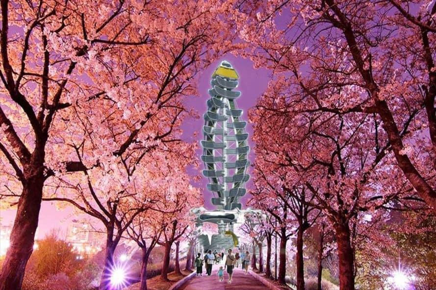 Smart Power Long, Power Long, Richard's Architecture + Design, Smart Power Long by Richard's Architecture + Design, Shanghai, drone car tower, net zero, blossoms