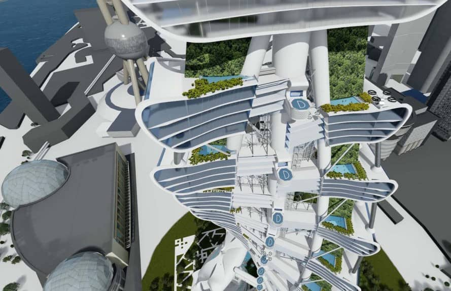 Smart Power Long, Power Long, Richard's Architecture + Design, Smart Power Long by Richard's Architecture + Design, Shanghai, drone car tower, net zero, landing pads