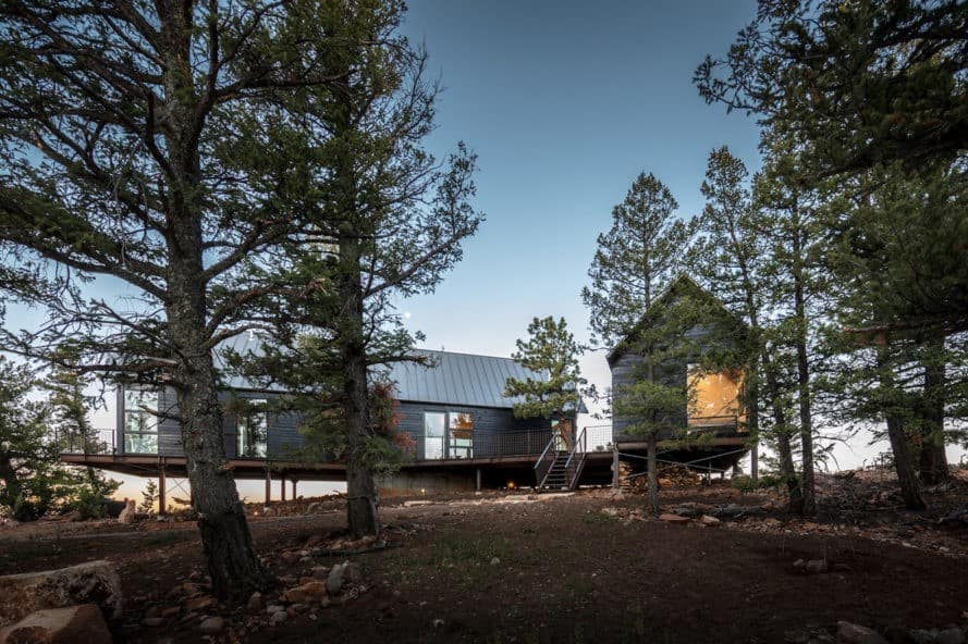 Big Cabin | Little Cabin, Renée del Gaudio Architecture, solar-powered cabin, Colorado, cabin, rustic materials, natural materials, solar panels, green architecture, vernacular architecture, plywood, gabled roof, cedar siding, LED lighting, wood-burning stove, low-e glass
