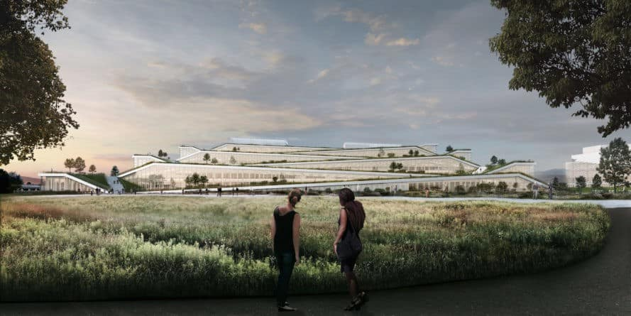 Google campus by BIG, Google Sunnyvale campus by BIG, LEED Gold Sunnyvale, Google Sunnyvale campus, Google Caribbean Drive, LEED Gold Google, green roofed terraced architecture