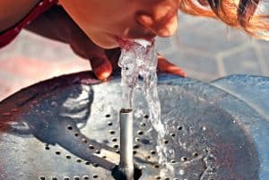 Water, drinking fountain, water fountain, drink, girl, outdoors, outside