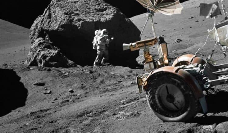 lunar boulder, moon boulder, astronaut on the moon, moon mission