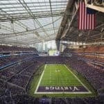 Super Bowl LII, Super Bowl LII architecture, sustainable football stadium, U.S. Bank Stadium super bowl, Minneapolis Super bowl 2018, LEED Gold football stadium, sustainable NFL stadium, U.S. Bank Stadium by HKS, stack effect in stadium design, eco-friendly stadium design, ETFE roof, ETFE stadium design, Super Bowl LII Minneapolis,