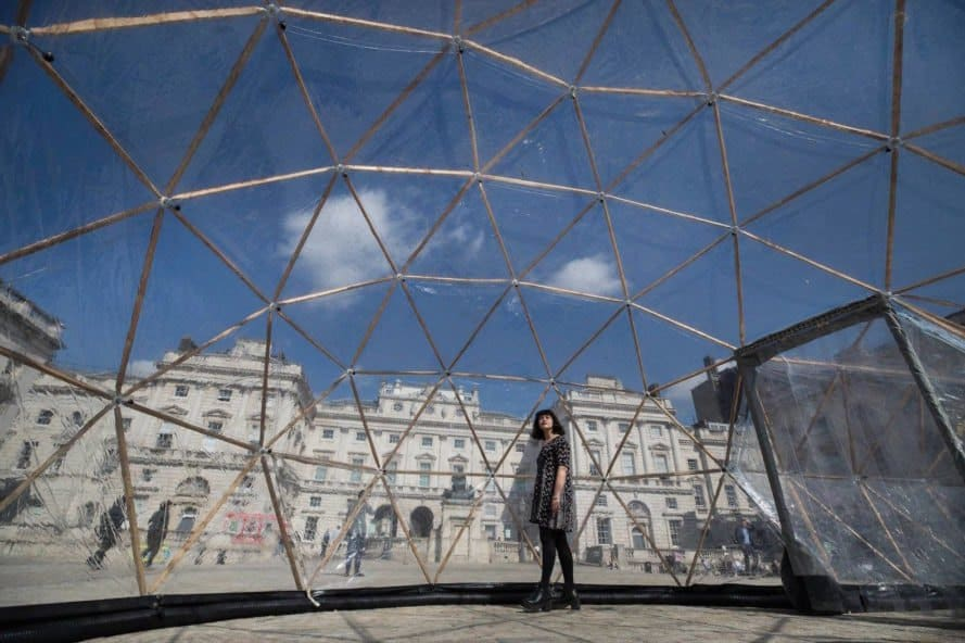 Inside geodesic dome Pollution Pods by Michael Pinsky