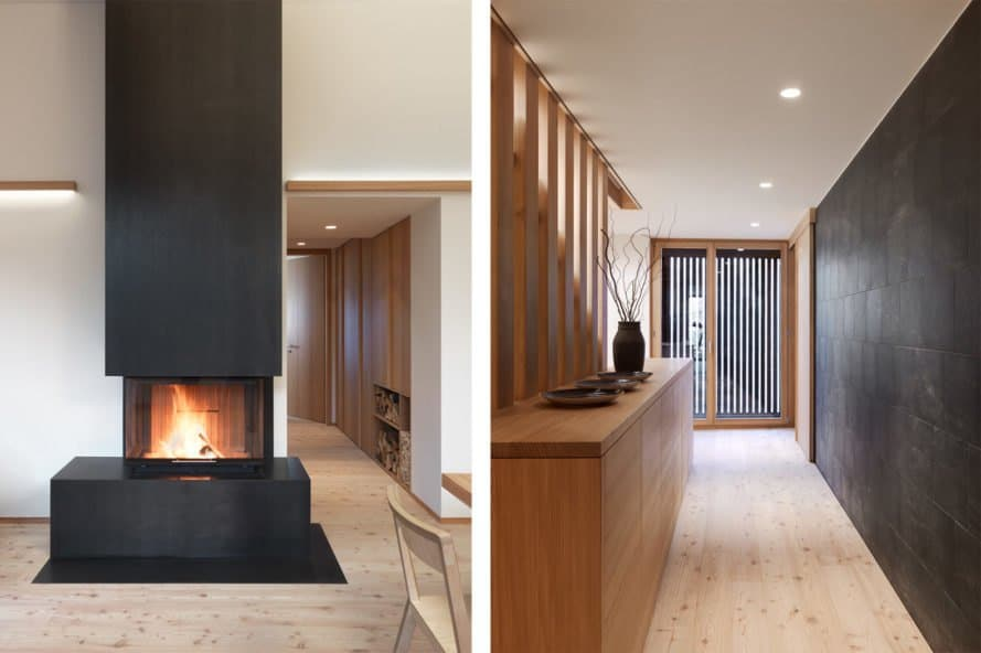 The steel fireplace hearth