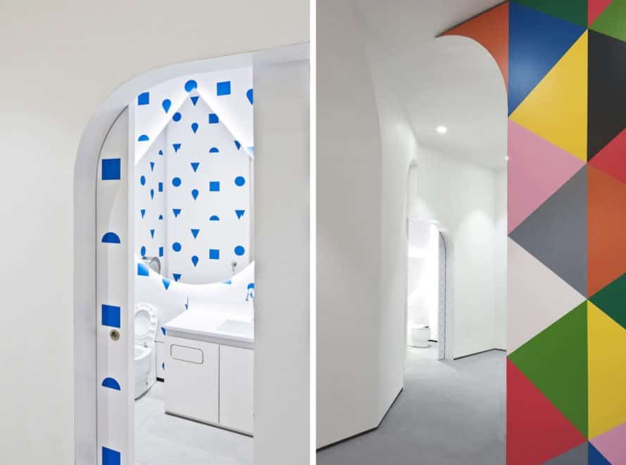 children bathrooms with pops of colorful patterns to contrast white walls and fixtures