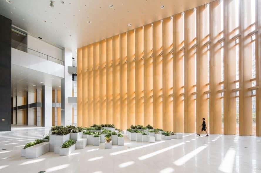 light-filled lobby