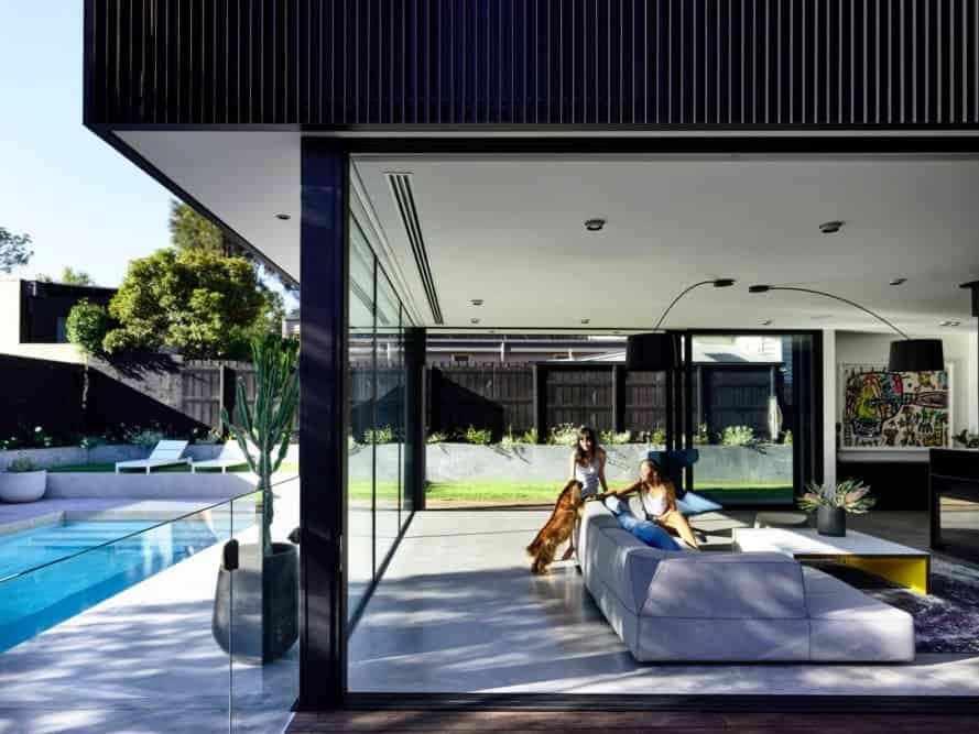 living room opens up to the outdoors
