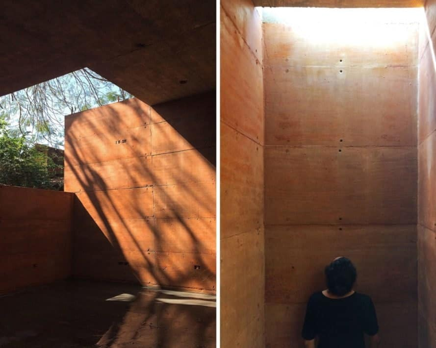 the interior of a rammed earth building