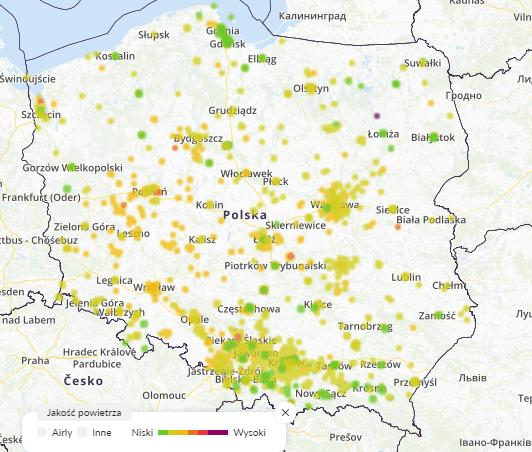 mapa smog dziś