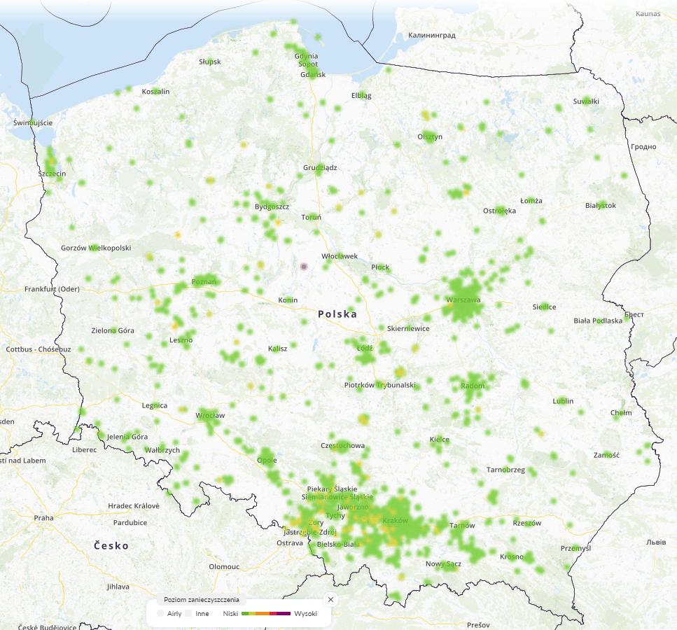 smog mapa polska