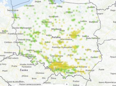 smog mapa polska dziś