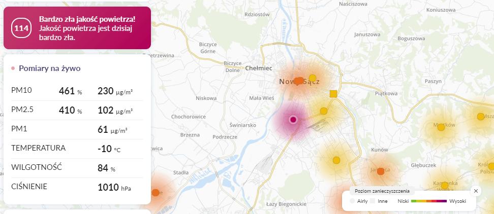 26.01 smog Nowy Sącz