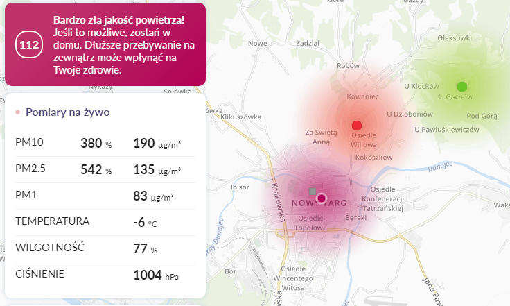 29.01 smog Nowy targ
