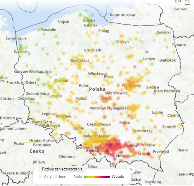 smog polska dziś